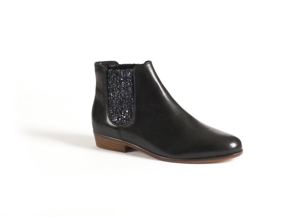 Black Leather Ankle Boots with a Glitter