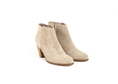Nude Suede Embossed Ankle Boots: ONLY ONE PAIR LEFT!