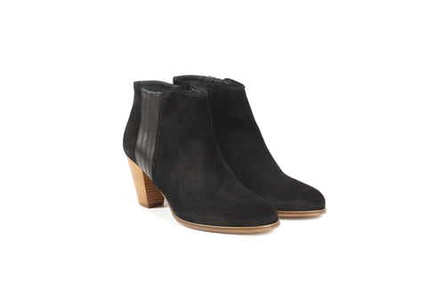 Black Suede and Leather Ankle Boots