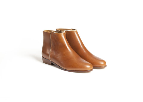 Cognac Leather Ankle Boots—Only one pair left!