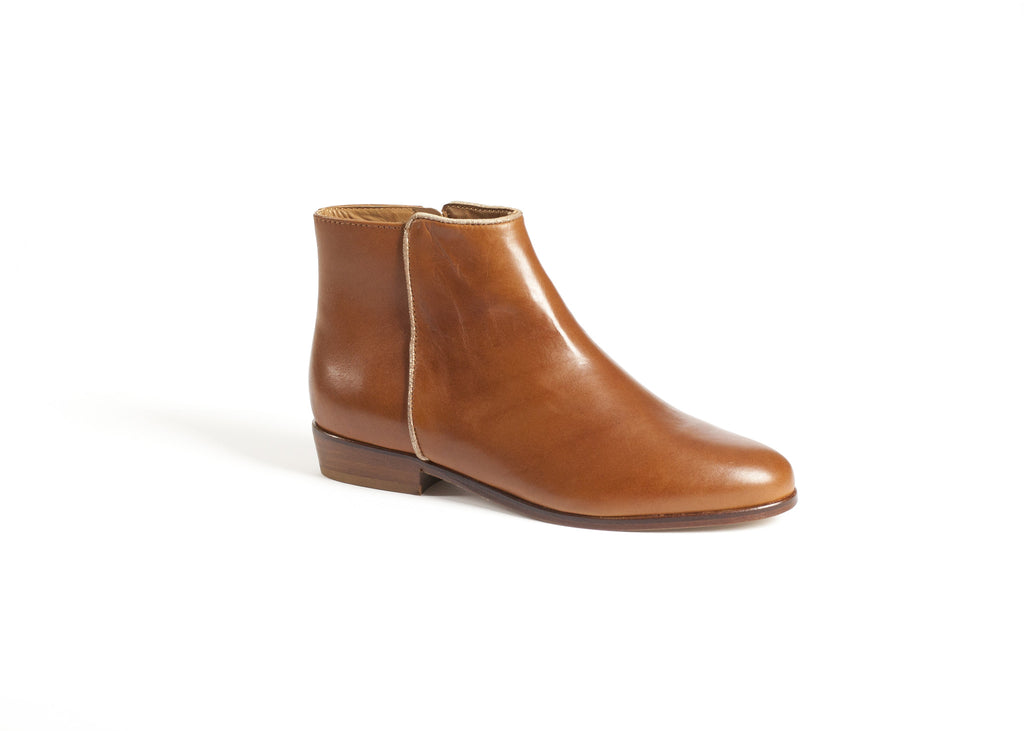 Cognac Leather Ankle Boots