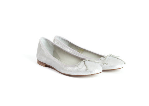 Silver Lamé Ballet Flats by Bobbies