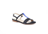 Black with Blue Strap Sandals