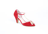 Red Suede Heels with gold t-bone strap