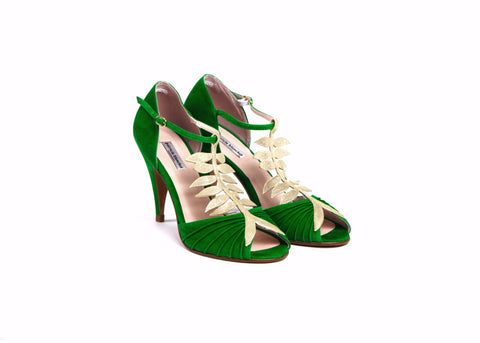 Suede Green and Gold Leaf Heels—Only one pair left!