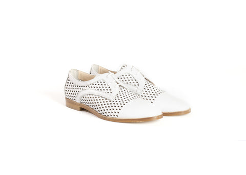 White Cut-out Leather Brogues