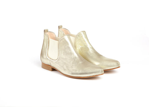 Gold Leather Ankle Boots
