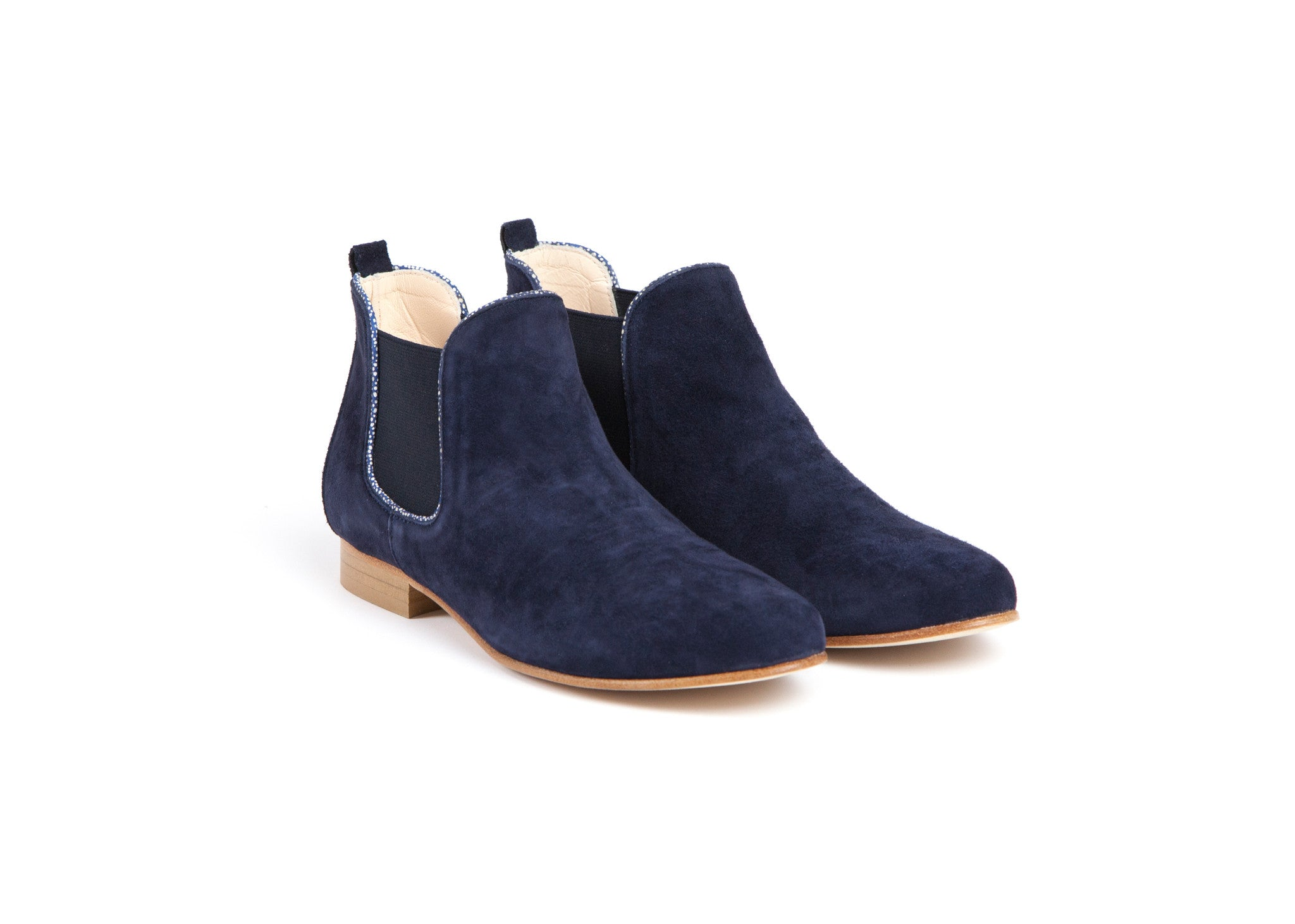 Leather Ankle Boots Navy Anaki The Parisian By Lingenue Slingback Home Products Suede Bootsonly One Size Left
