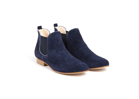 Navy Suede Leather Ankle Boots—Only one size left!