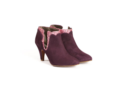 Burgundy and pink Suede and Glittered Leather Ankle Boots—ONLY ONE PAIR LEFT!