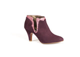 Burgundy and pink Suede and Glittered Leather Ankle Boots