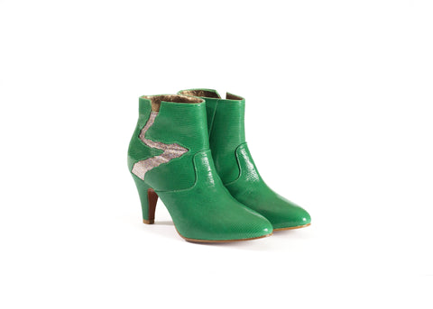 Emerald Green Leather Ankle Boots