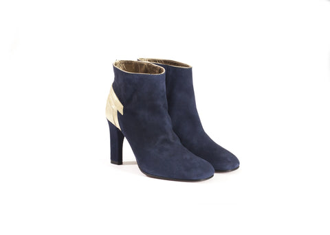 Navy Blue Suede Ankle Boots—Only one pair left!