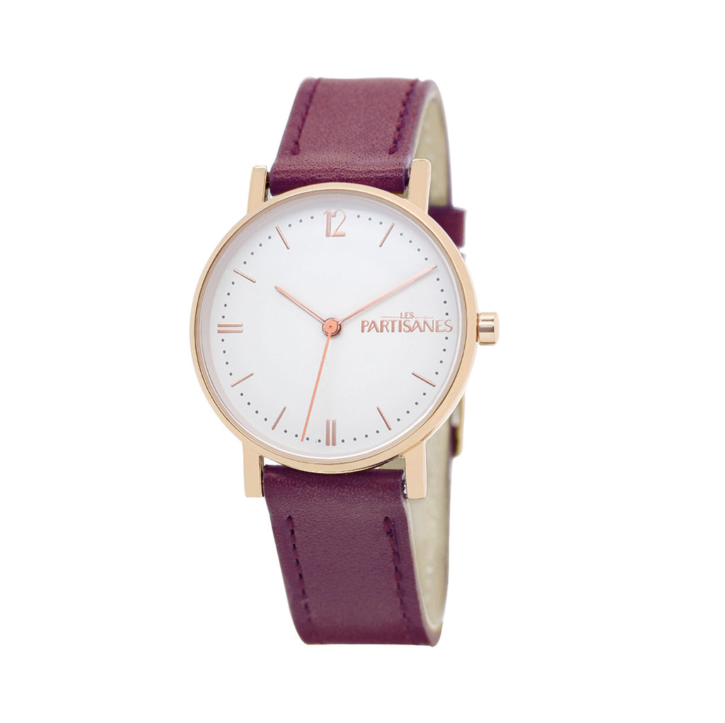 L'AUDACIEUSE: ROSE GOLD WITH BURGUNDY STRAP
