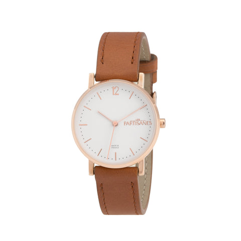 L'AUDACIEUSE: ROSE GOLD WITH COGNAC STRAP