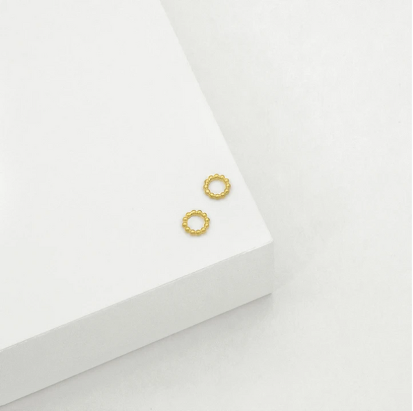BEADED CIRCLE STUD EARRINGS (GOLD)