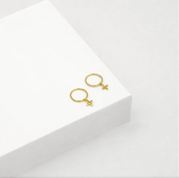 CROSS SLEEPER HOOP EARRINGS (GOLD)