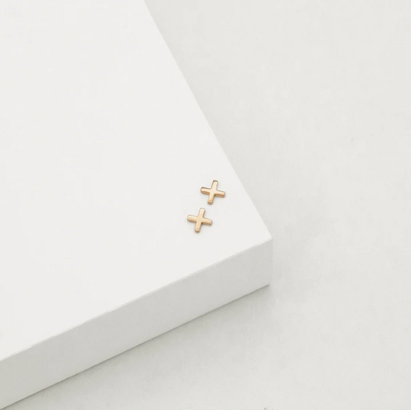 CROSS STUD EARRINGS (ROSE GOLD)
