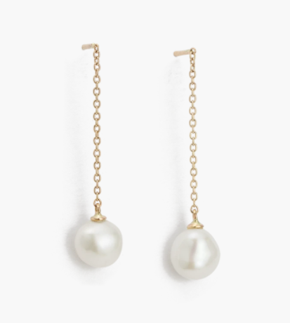 OCEAN PEARL CHAIN EARRINGS (9K GOLD)