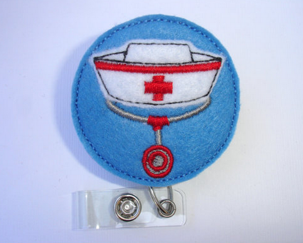 Nurse Handmade Badge Reel | Nurse Hat & Stethoscope