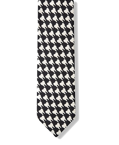 Dental Hygienist Necktie | Tooth Black & White