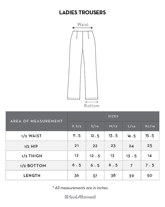 Ladies trouser size chart