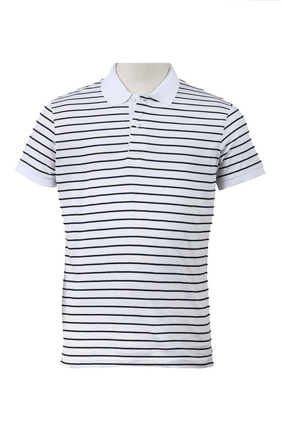 White Double Tuck Polo Shirt - SJP-YD-D38-2