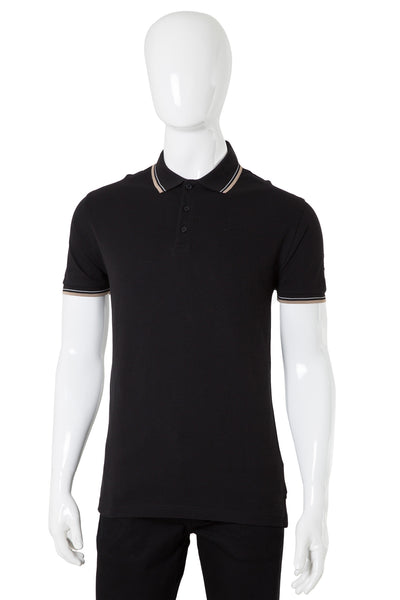 Black Double Tuck Pique Signature Polo Shirt - PKP-SPR-07