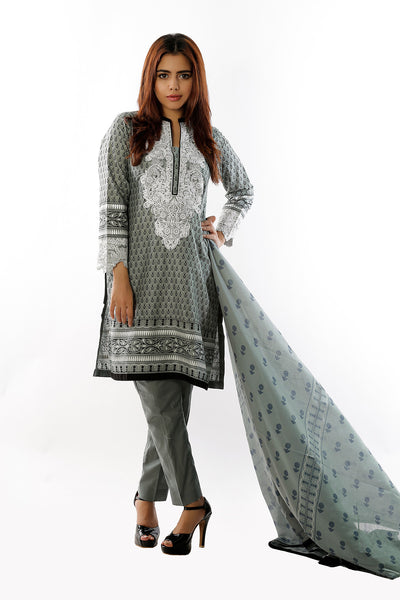 Grey Embroidered Lawn 3 Pc Dress CL-133 B