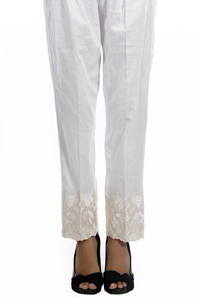White Cambric Embroidered Trouser TR-15-018