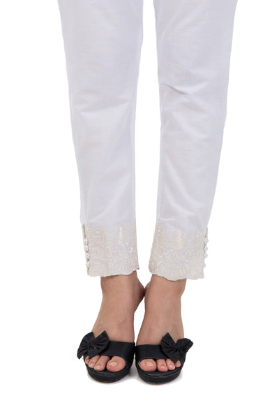 White Embroidered Trouser - TR-15-044 C