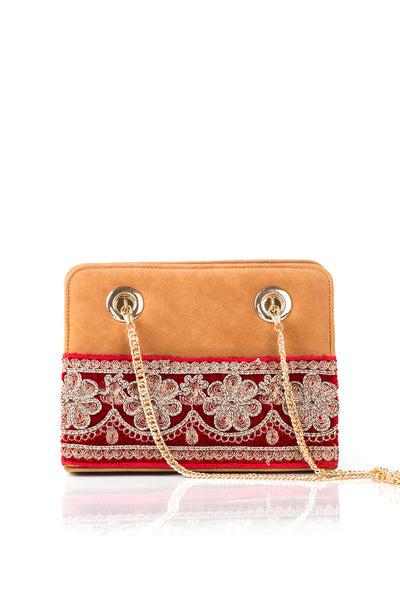 Brown Embroidered Hand Bag DSB-310