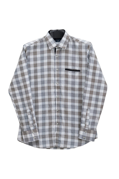 Grey Checked GA Sport Casual Shirt CM-YD-1722