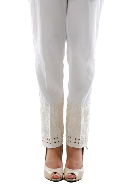 White Lawn Embroidered Trouser TR-15-019 A