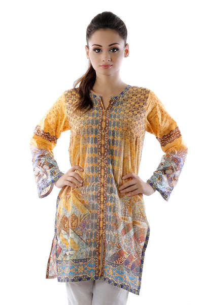 Mustard Cambric Digital Print Shirt GLS-16-024 (DP)