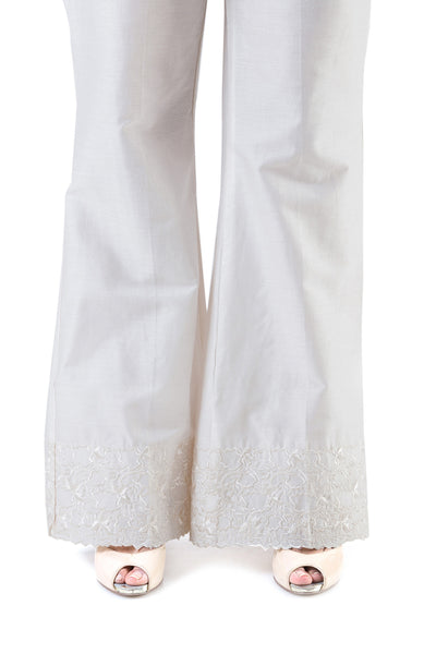Off White Cambric Embroidered Trouser TR-16-09