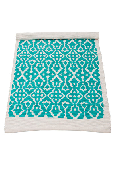 Blue Screen Printed Rugs OPAL BLUE