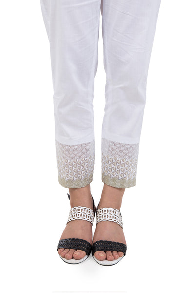 White Cambric Embroidered Trouser TR-16-02