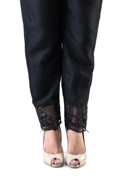 Black Cambric Embroidered Trouser TR-16-014