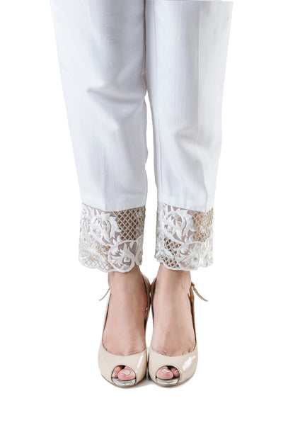 White Indian Raw Silk Embroidered Trouser TR-16-014