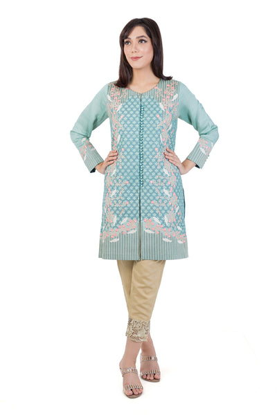 Green Embroidered Organza Khaddar Shirt GLAMOUR-15-110