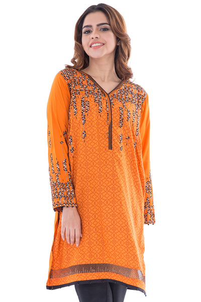 Orange Viscose Embroidered Shirt GLW-16-040