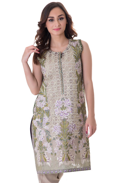 Cream Embroidered 2-Pc Dress GLAMOUR-16-16