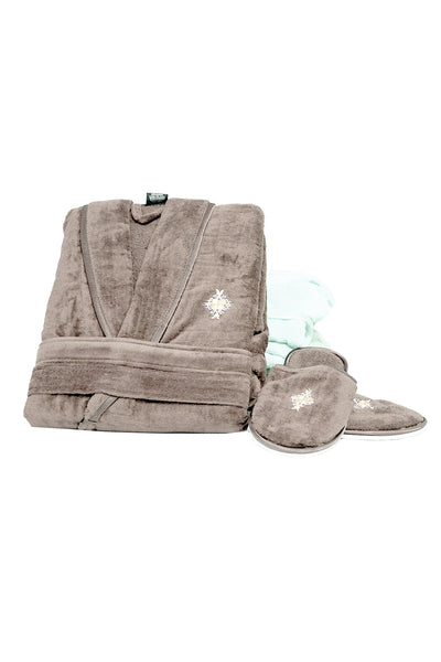 Taupe Velour Bathrobe