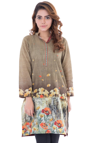 Green Khaddar Printed Shirt Honey Comb