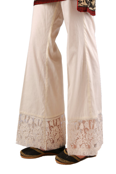 Cream Cambric Embriodered Trouser TR-16-035