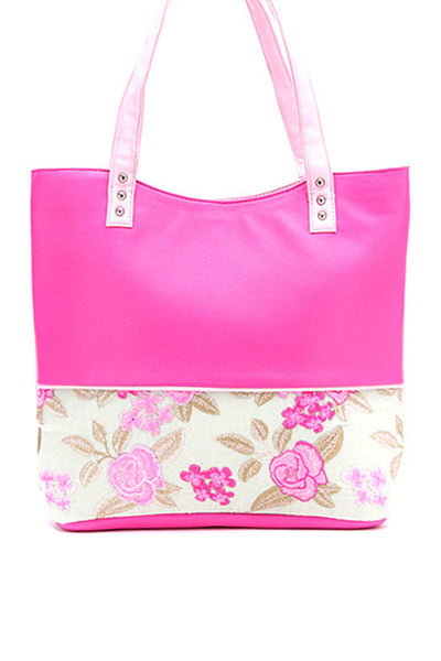 Rose Embroidery Border Tote Bag - DSB-164