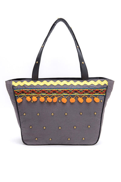 Tote Bag With Woolen Borders & Pompoms - DSB-152