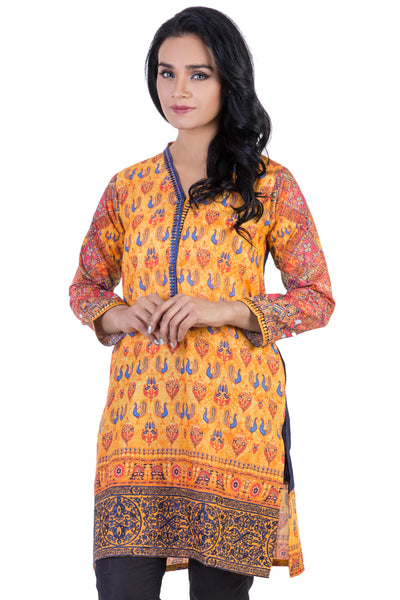 Orange Digital Print Embroidered Cambric Shirt GLS-15-165 (DP)