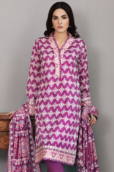 Purple 3 Pc Printed Lawn Dress CL-233 B
